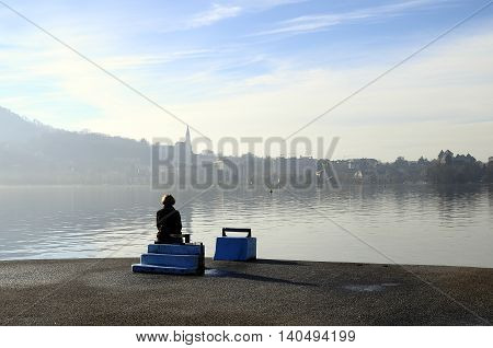 Woman Looking At Annecy Lake In France