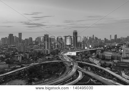 Black and White, City downtown background over highway interchanged