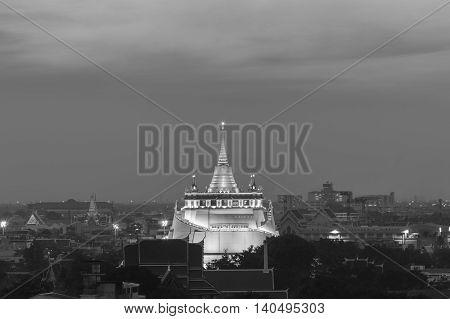 Black and White, Golden Mount Temple the most travel Landmark of Bangkok Thailand during sunset