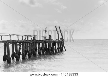 Black and White, Fishing jetty over the beach, natural landscape background