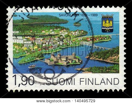 FINLAND - CIRCA 1989: a stamp printed in Finland shows City of Savonlinna and Saimaa lake, 350th anniversary of Savonlinna Municipal Charter, circa 1989