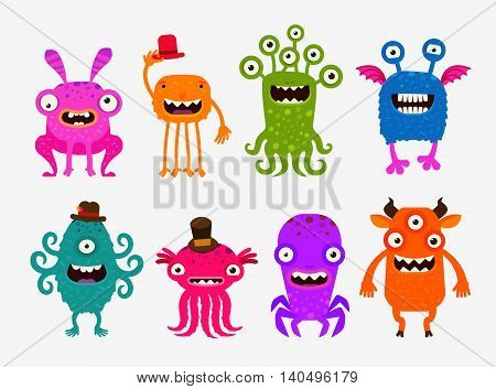 Fun cute cartoon monsters. Set icon vector illustration