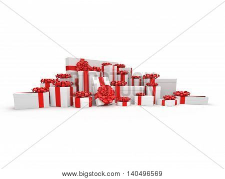 3D Rendering White Gift Box