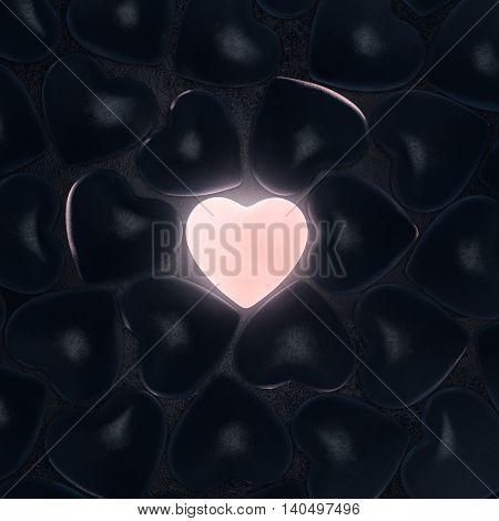 3D Rendering Beautiful Glowing Heart