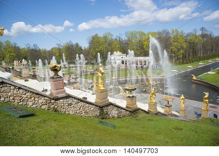 SAINT PETERSBURG, PETERGOF, RUSSIA - May 9, 2015: Fountains of Lower Gardens, Sea Canal in Peterhof, near Saint Petersburg. Fountains of Peterhof are one of Russia's most famous tourist attractions