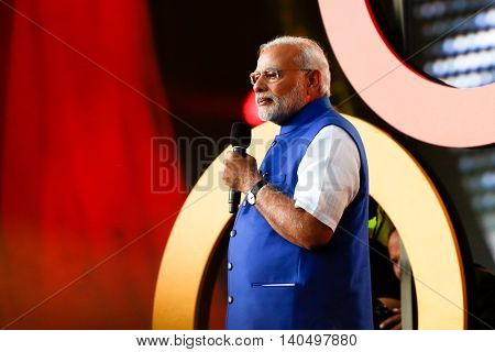 NEW YORK-SEPT 27: Prime Minister of India Narendra Modi  speaks onstage at the 2014 Global Citizen Festival to end extreme poverty by 2030 in Central Park on September 27, 2014 in New York City.