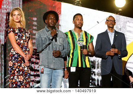 NEW YORK-SEPT 27: (L-R) Erin Heatherton, Kweku Mandela, Ndaba Mandela & Paul Kagame speak at 2014 Global Citizen Festival to end poverty by 2030 in Central Park on September 27, 2014 in New York City.