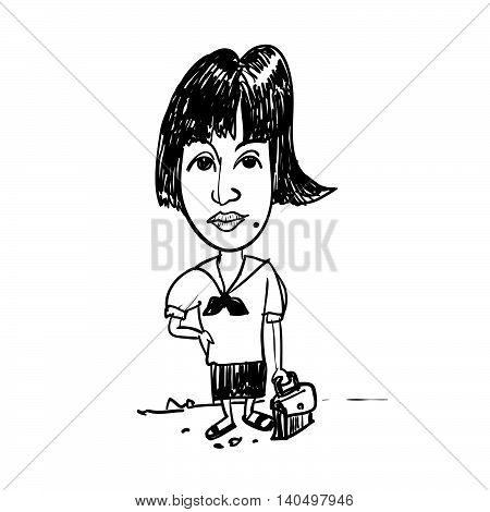 Drawing of girl student carry school bag going to school