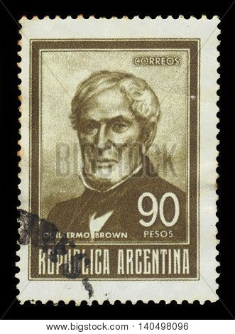 ARGENTINA - CIRCA 1967: a stamp printed in the Argentina shows William Brown (Guillermo Brown), admiral of Argentina, circa 1967