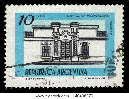 Argentina - CIRCA 1978: A stamp printed in Argentina shows House of Independence, Tucuman, Argentina, Casa de Tucuman site of the Argentine declaration of independence, series, circa 1978