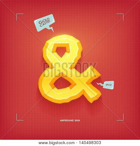 Ampersand symbol. Golden jewel typeface element. Gold casted. Vector illustration.