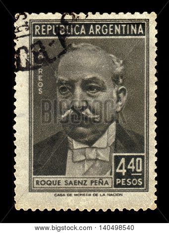 ARGENTINA - CIRCA 1957: a stamp printed in the Argentina shows Roque Saenz Pena, 17th President of Argentina, circa 1957