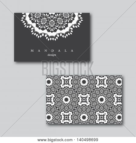 Set of ornamental business cards with mandala and seamless pattern visiting template card white black colors.Vintage decorative elements.Indian asian arabic islamic ottoman motif. Vector