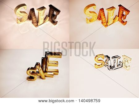 Set of pictures dimensional inscription of SALE on background. 3D illustration.