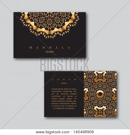 Set of ornamental business golden cards with mandala and seamless pattern visiting template cards. Vintage decorative elements.Indian asian arabic islamic ottoman motif. Vector illustration.