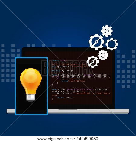mobile application programming language code smart phone head and idea vector