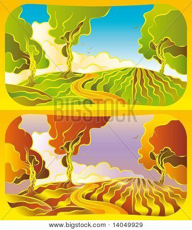 Autumn And Summer Landscape