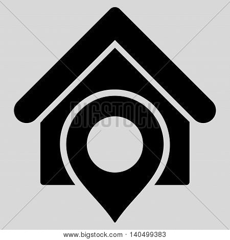 Realty Location icon. Glyph style is flat iconic symbol with rounded angles, black color, light gray background.