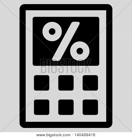 Tax Calculator icon. Glyph style is flat iconic symbol with rounded angles, black color, light gray background.