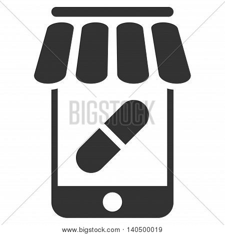 Online Pharmacy icon. Glyph style is flat iconic symbol with rounded angles, gray color, white background.