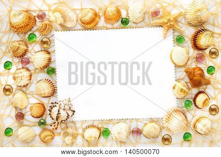 frame from different sea shells and glass beads. top view
