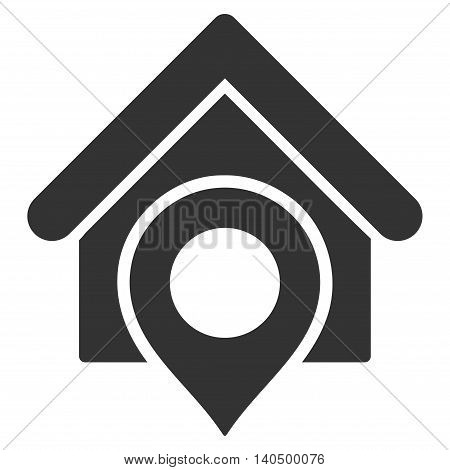 Realty Location icon. Glyph style is flat iconic symbol with rounded angles, gray color, white background.