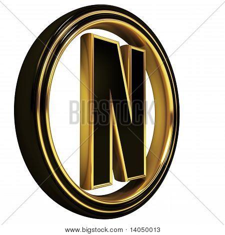 Gold Black Font Letter n