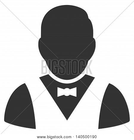 Waiter icon. Glyph style is flat iconic symbol with rounded angles, gray color, white background.