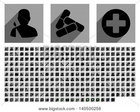 Medical vector icon set with 282 icons. Style is flat black symbols with long shadow on gray square backgrounds.