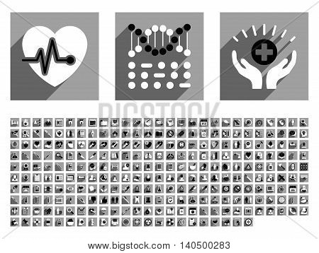 Medical glyph icon set with 256 items. Style is flat black and white icons with long shadow on gray square backgrounds.