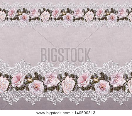 Pattern seamless. Old style. Fine weaving mosaic. Vintage background. Flower garland of pink and pastel roses on a background of rough cloth burlap openwork lace.