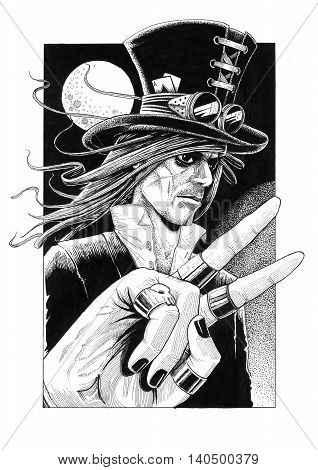 Gothic man dressed up with bowler hat showing the victory peace sign with his ringed fingers and background moon in black sky drawing illustration