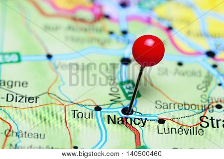Nancy pinned on a map of France