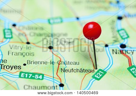 Neufchateau pinned on a map of France