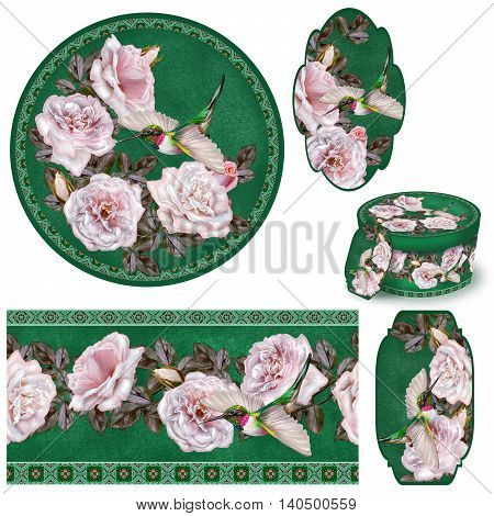 Set for packaging. Box round. Label. decoupage. Floral background. Flower border. Pattern. Mosaic. Garland of pale pink and pastel roses. Little bright bird hummingbird in flight.