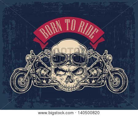 Motorcycle side view and skull with glasses. View over the handlebars. Vector engraved illustration isolated on dark vintage background. For web poster motorcycle club.