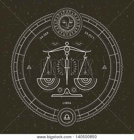 Vintage thin line Libra zodiac sign label. Retro vector astrological symbol, mystic, sacred geometry element, emblem, logo. Stroke outline illustration.