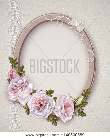 Oval photo frame. Bouquet of pink and pastel roses. Flower composition. Openwork lace weaving of pearls.
