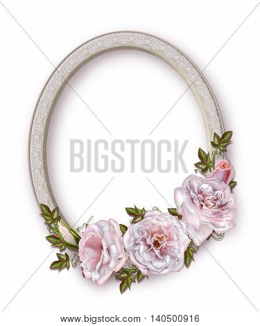 Oval photo frame. Bouquet of pink and pastel roses. Flower composition.