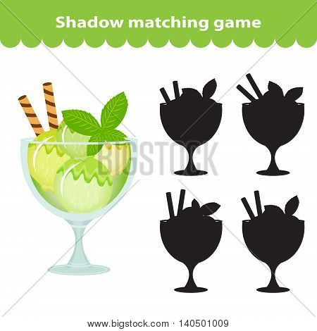 Children's educational game find correct shadow silhouette. Sweets ice cream set the game to find the right shade. Vector illustration