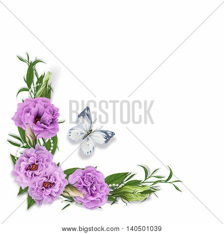 The composition corner floral garland of delicate lilac eustoma roses white butterfly on a white background isolated. Photo frame.