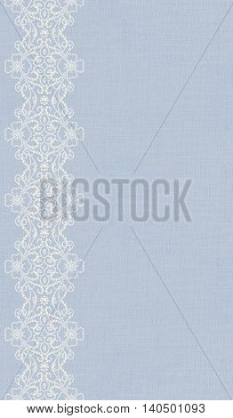 background of coarse cloth and delicate openwork lace. Vertical border. Pattern seamless. Old style.