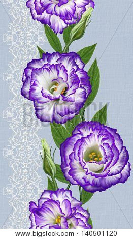 Pattern seamless. Vertical floral border. composition of a bouquet of flowers eustoma purple. Irish rose lisianthus. Lace openwork weaving pearl bead.