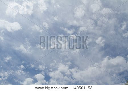 white clouds in a blue sky on a sunny day