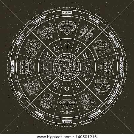 Astrology symbols and mystic signs. Zodiac circle with horoscope signs. Thin line vector design.