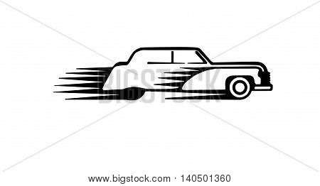 Classic car vector drawing transportation auto vehicle retro. Nostalgia automobile design.