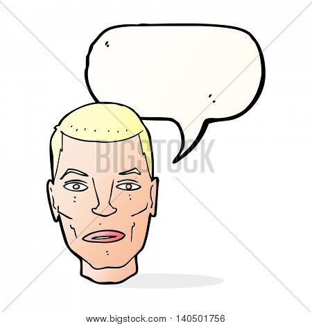 cartoon serious male face with speech bubble