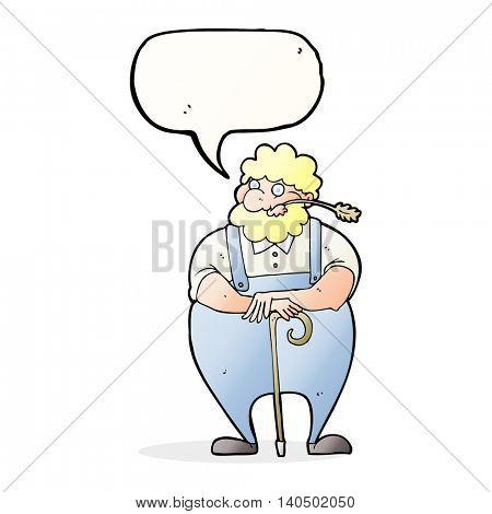 cartoon farmer leaning on walking stick with speech bubble