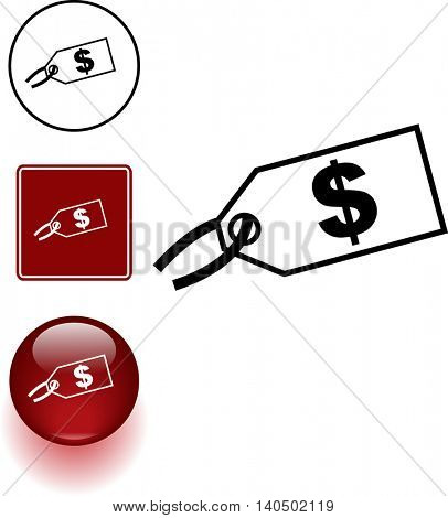 price tag symbol sign and button