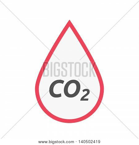 Isolated Line Art Blood Drop Icon With    The Text Co2